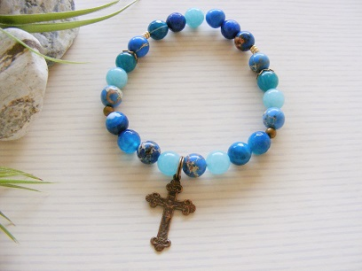 Bronze Cross - Blue Impression Jasper Bracelet