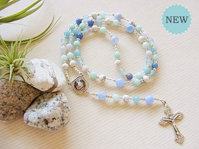 Handmade Rosary Amazonite Guardian Angel