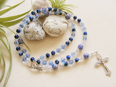 Handmade Rosary Blue Glass Holy Communion