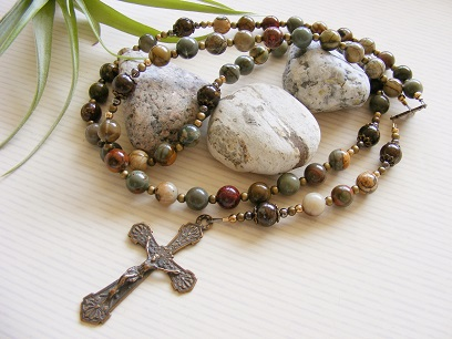 Handmade Bronze Rosary Red Creek Jasper