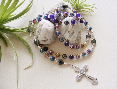 Handmade Rosary Rainbow Hematite Holy Communion
