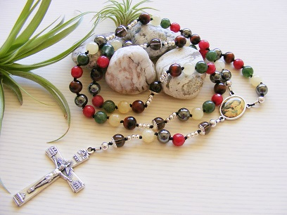 Handmade Knotted Rosary Our Lady of Perpetual Help