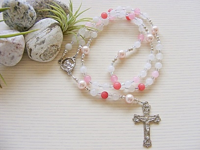 Handmade Rosary Pink and White Jade