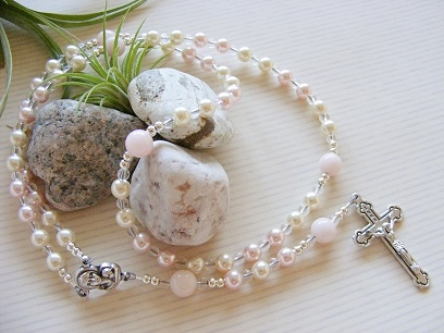 Handmade Rosary Swarovski Pearls Holy Communion